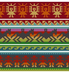 Andean knitting borders vector