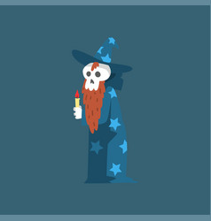bearded skeleton sorcerer funny dead man cartoon vector image