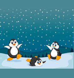 beautiful view with three penguin vector image