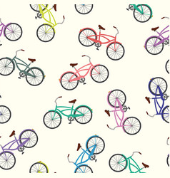 bicycle seamless pattern white background vector image