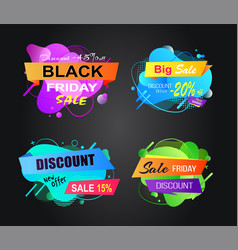 Black friday discounts and sales banners vector