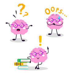 Brain fun character cartoon flat vector