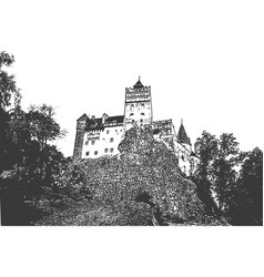Bran castle in romania view up hill vintage vector