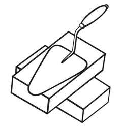 Brick and trowel vector image