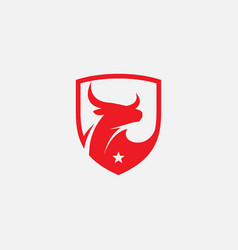 bull shield logo icon bull head icon vector image