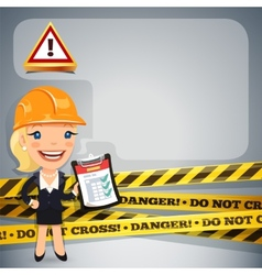 Businesswoman With Danger Tapes vector image