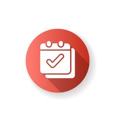 Calendar app red flat design long shadow glyph vector