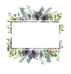 Card design with succulent cactus frame border vector