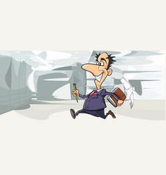 cartoon happy man in suit running in the office vector image