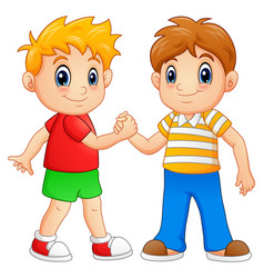 Cartoon little boys shaking hands vector