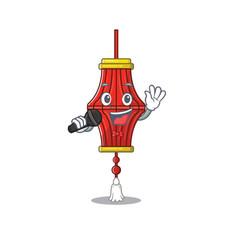 Cartoon singing chinese paper lanterns while vector