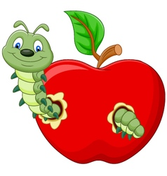 caterpillars eat the apple vector image