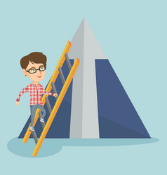Caucasian business woman climbing the mountain vector