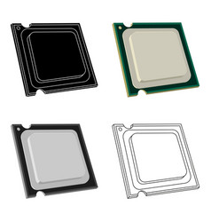 Central processing unit icon in cartoon style vector