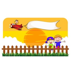 Children behind the fence and airplane vector