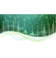 Christmas card with magic reindeer vector image