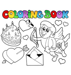 coloring book valentine theme 4 vector image