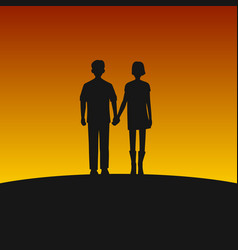 Couple silhouettes on sunset background vector