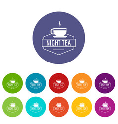 cup tea icons set color vector image