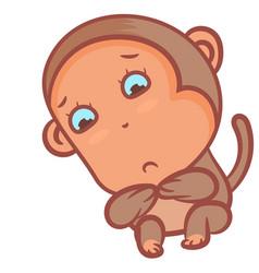 Cute little boy monkey lonely scene vector