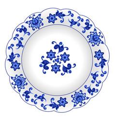 Decorative porcelain plate vector