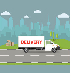 delivery van with shadow and cardboard boxes vector image