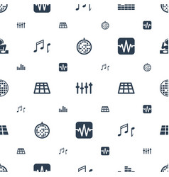 Disco icons pattern seamless white background vector
