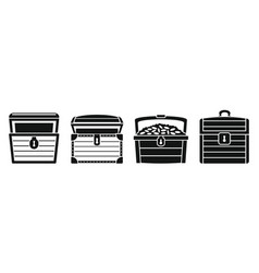 dower chest box icon set simple style vector image