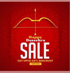 Dussehra sale banner with bow and arrow vector