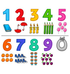 Educational cartoon numbers set with objects vector