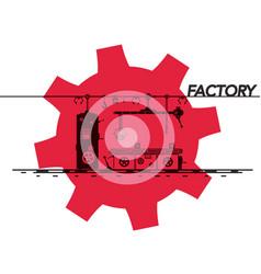 factory symbol with cog icon design vector image