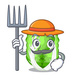 farmer chinese cabbage in the basket cartoon vector image