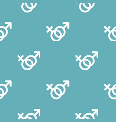 female and man gender symbol pattern seamless blue vector image