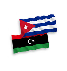 Flags cuba and libya on a white background vector