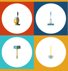 Flat icon cleaner set of mop besom cleaning and vector