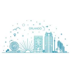 Florida linear banner orlando city vector