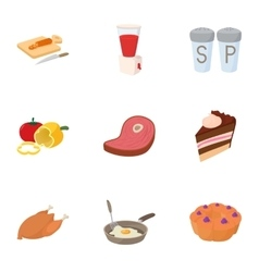 Food stuff icons set cartoon style vector