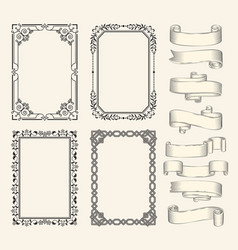 frames and ribbons monochrome sketch set vector image