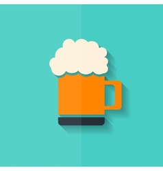 Glass of beer web icon Flat design vector image vector image