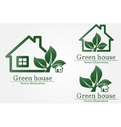Green house logo Energy saving concept vector image