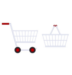 Grocery cart food basket vector