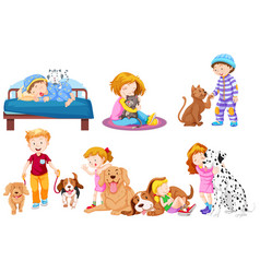 group of pet lover vector image