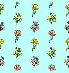 hand drawn flower seamless pattern background vector image
