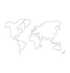 Hand-drawn map of world solid thin line vector