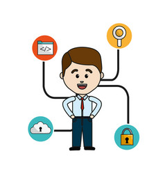 Happy man with internet technology icons vector