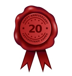 Happy Twenty Year Anniversary Wax Seal vector image