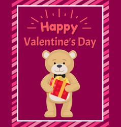 Happy valentines day poster teddy toy black tie vector