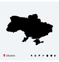 High detailed map of Ukraine with navigation pins vector