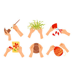 Human hands making diy crafts collection vector
