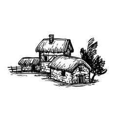 Ink sketch old european country houses vector